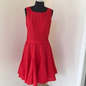 Calvin Klein SZ6 red linen blend sleeveless dress